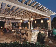 Outdoor Hanging Lamps In Patio Area