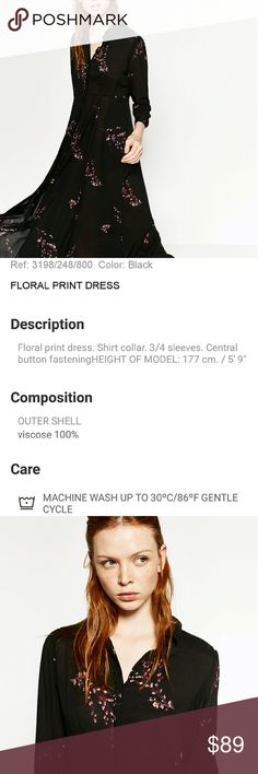 Zara floral print dress black floral S small Brand new with tag Zara Woman Premium Collection floral print dress.Button up front, with pockets! Super chic! Sold out! Reasonable offers considered via offer tab, thank you! Zara Dresses Maxi