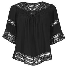 VILA Women's Magus Top (1.575 RUB) ❤ liked on Polyvore featuring tops, tunics, black, black crochet tunic, black crochet top, pleated top, rayon tops и black cut out top