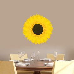 Bring a personal touch to your wall decor with this outstanding vinyl decal. This pretty printed sunflower vinyl decal will add beautiful color to any room in your home. Perfect for a little girl's ro