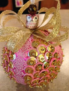 Handmade sequin ornament by OrnamentsthatDazzle on Etsy, $14.00