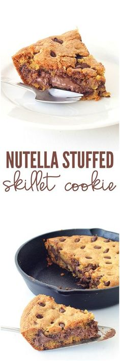 Nutella Stuffed Skillet Cookie made from scratch! A BIG buttery deep dish chocolate chip cookie made in a skillet with a secret layer of gooey Nutella hidden inside!