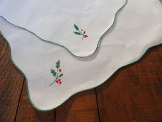 Vintage White Linen Doilies Set of 2 Holiday by rustbelttreasures, $14.00