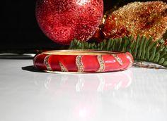 Vintage 1980's Red Enamel and Rhinestone Bracelet by Gallery122, $29.99