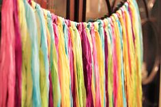 Dyed Silk Streamers/This Gorgeous DIY is perfect for a fiesta, but also makes fun every day decor. Learn more at Lil Blue Boo
