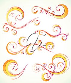 Royalty Free Clipart Image of Four Flourishes
