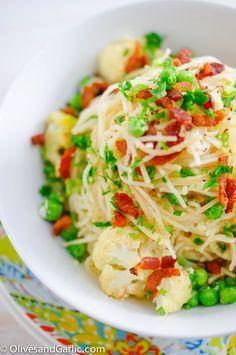 Spaghetti Alla Carbonara with Cauliflower and Peas