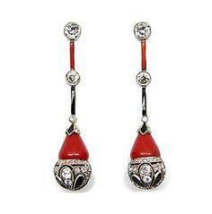 Pair of Art Deco corallium rubrum, onyx and diamond pendant earrings, Coral Earrings, Art Deco Earrings, Art Deco Jewelry, Pendant Earrings, Fine Jewelry, Jewelry Design, Jewelry Making, Antique Jewelry, Vintage Jewelry