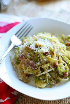 Spaghetti with Bacon, Brussels Sprouts and Artichokes ~T~ Love this so much. Lots of flavor from the marinated artichoke hearts and bacon.