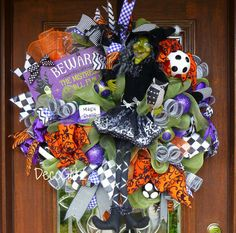 BEWARE the MISTRESS of All EVIL Witch Wreath by decoglitz on Etsy