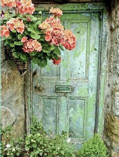 Beautiful old green door