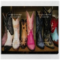Colorful Cowboy Boots Gallery Wrap or Wall Art Starts at $84.97