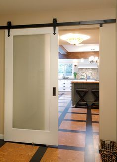 How can you use sliding glass barn doors? Here are a collection of different examples of homes using barn doors. If you needed pocket doors but the wall is not prepped for that , then consider barn