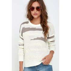 Obey Findon Cream and Taupe Sweater ($79) ❤ liked on Polyvore featuring tops, sweaters, white, thick sweater, white long sleeve top, cream long sleeve top, thin sweaters and white sweater