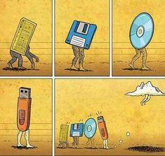 Funny pictures about The Evolution of Data Storage. Oh, and cool pics about The Evolution of Data Storage. Also, The Evolution of Data Storage. Humour Geek, Tech Humor, Funny Humor, 9gag Funny, Memory Storage, Humor Grafico, Cloud Computing, Funny Comics, Nerdy
