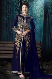 Blue color pure faux georgette pant style suit with pure chiffon dupatta. Blue pant style salwar kameez is beautiful heavy zari embroidery work. Blue pant style dress is pure faux georgette fabric top and pure santoon bottom with pure chiffon dupatta. Latest Salwar Suits, Salwar Suits Online, Designer Salwar Suits, Lehenga Saree, Anarkali Dress, Georgette Fabric, Chiffon Fabric, Fashion Pants, Fashion Dresses