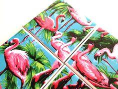 Flamingo Ceramic Tile Coasters Tropical Bird by QueenOfDeTile