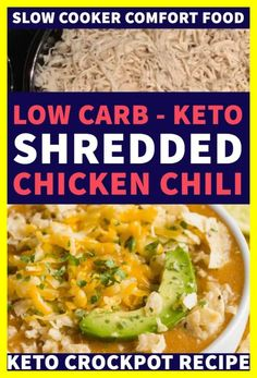 Keto Crockpot White Shredded Chicken Chili is an easy low carb slow cooking dinner with chicken, cream cheese, and spices. This keto crock pot meal will be your new favorite Keto Foods, Keto Meal, Vegetarian Meal, Keto Crockpot Recipes, Chili Recipes, Healthy Recipes, Simple Recipes, Crockpot White Chicken Chili, Stew Chicken Recipe