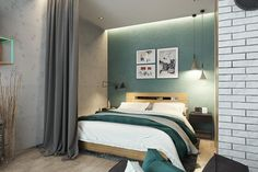 """This sleeping area is the perfect """"room within a room"""". Curtains hang from a recessed cove that also provides a bit of soft indirect lighting – ideal for relaxing in the evening, when the pendant lamps might be too bright."""