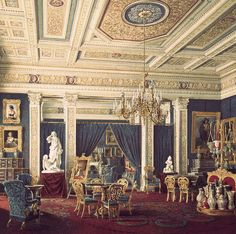 Painting of the blue drawing room in the Mariinsky Palace, St. Petersburg, by Edward Petrovich Hau