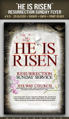 He is Risen Flyer. Can be used for Easter Sunday Church Services and Events. The PSD file has group folders and layers named accordingly. $6.00