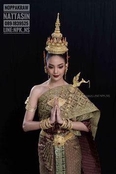 Rayella Traditional Thai Clothing, Traditional Fashion, Traditional Dresses, Thai Wedding Dress, Khmer Wedding, Thailand Costume, Thai Pattern, Thai Fashion, Thai Dress