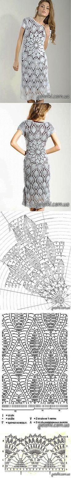 Платье крючком с круговым рисунком. Схемы