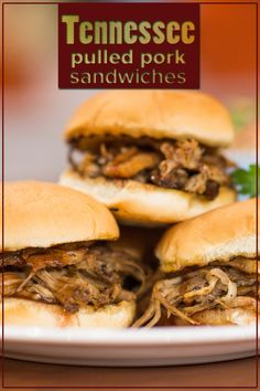 Serve these delicious regional foods at your next BBQ: Tennessee pulled pork sandwiches with BBQ vinegar sauce and Texas beef ribs. Sauce Recipes, Pork Recipes, Slow Cooker Recipes, Diner Recipes, Easy Recipes, Pork Sandwich, Sandwiches, Sandwich Board, Barbecue Recipes