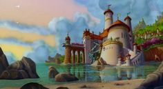 Prince Eric's Castle, The Little Mermaid - Look how this castle literally sits right on the beach. It doesn't get more picturesque than this. It's also an unique architectural style. We're loving the rounded windows and the varying sizes of the spires. Prince Eric's castle gets a 4.5 out of 5.