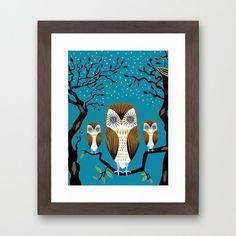 "Three Lazy Owls  by Oliver Lake  Framed Art Print / Conservation Walnut MINI (10"" x 12"")    $32.00"