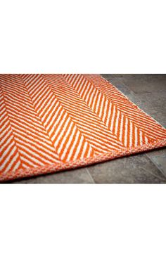 Chalet Herringbone Flatwoven Orange Rug | Contemporary Rugs