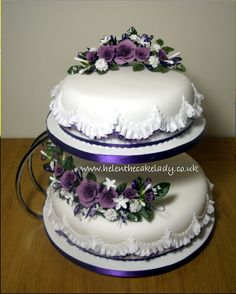 Lilac  & deep purple rose with frill wedding cake - by Helen The Cake Lady
