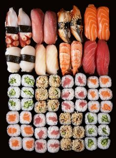 In love with this sushi platter. See more of my sushi adventures on… Sushi Recipes, Cooking Recipes, Healthy Recipes, I Love Food, Good Food, Yummy Food, Tasty, Sushi Comida, Sushi Party