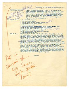 """Papa's Favorite Hamburger"" recipe, with Mary Hemingway's handwritten notes. Inside Ernest Hemingway's Private Photo Album & Scrapbook Retro Recipes, Old Recipes, Vintage Recipes, Vintage Food, Hamburger Recipes, Beef Recipes, Cooking Recipes, Thyme Recipes, Hamburgers"