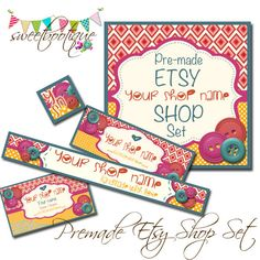 Etsy Shop Set - Premade Etsy Banner - Etsy Shop Banner - Avatar - Button Baby Banner