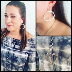 Looking good in big silver heart Fabu necklace and large loop earrings! www.cindysfaves.com #cindysfaves