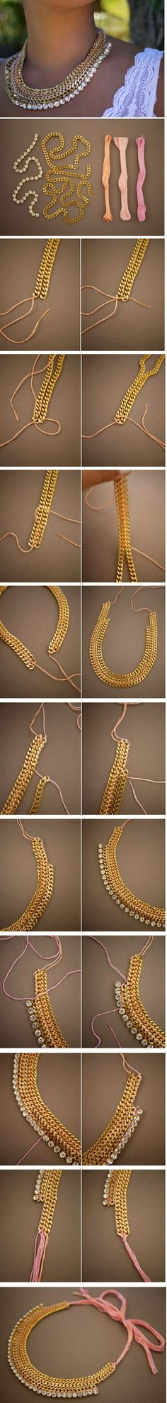 metal necklace diy http://honestlywtf.com/diy/diy-woven-chain-collar-necklace/