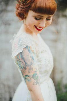 red hair, red lips, sleeves, and tats Brides With Tattoos, Tattooed Brides, Wedding Designs, Wedding Styles, Byron Bay Weddings, Bridal Table, Wedding Bells, Wedding Inspiration, Wedding Ideas