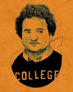 John Belushi  Bluto  Screen Printed art print  orange by bmethe