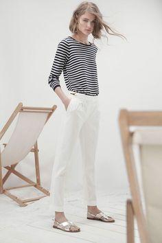 Massimo Dutti Lookbook — white jeans and stripped shirt | curated by ajaedmond.com | capsule wardrobe | minimal chic | minimalist style | minimalist fashion | minimalist wardrobe | back to basics fashion