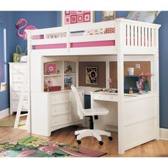 loft bed. This is exactly the bed my older girls need. Desk and dresser built in underneath. However, they would prefer a slide!