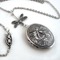 Etched Silver Locket - Flight of the Dragonfly Necklace Jewelry Jewellery. $28.00, via Etsy.