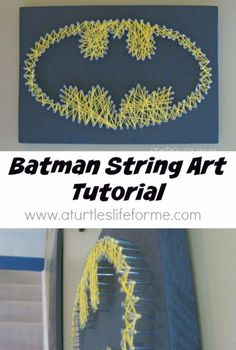 40 Insanely Creative String Art Projects DIY String Art Projects - Batman String Art Tutorial - Cool, Fun and Easy Letters, Patterns and Wall Art Tutorials for String Art - How to Make… String Art Diy, String Art Tutorials, String Art Patterns, String Crafts, Creative Crafts, Fun Crafts, Arts And Crafts, Wall Art Crafts, Creative Shirts