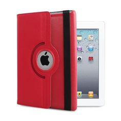For Apple iPad Mini 1 2 3 New 360 Rotating Magnetic PU Leather Case Cover Red