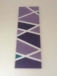 Criss-cross masking tape over a blank canvas. Paint. When dry, peel off tape. Voila! Geometric awesomeness.