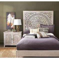 Bring an ultimate focal point for your bedroom with this Home Decorators Collection Chennai White Wash Queen Platform Bed. Raised Platform Bed, Queen Platform Bed, White Platform Bed, Platform Bedroom, Home Decor Bedroom, Bedroom Furniture, Bedroom Ideas, Master Bedroom, Moroccan Bedroom Decor