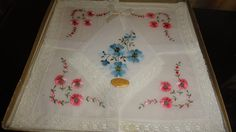 Vintage All Cotton Exclusive Of Decoration Made In Switzerland 5 Pc. Lace Trim Embroidered Blue/Pink Flowered Handkerchiefs In Original Box by TimsSecretTreasures on Etsy