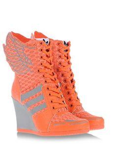 jeremy scott x adidas Orange High Heels, Orange Sneakers, Orange Shoes, Orange Orange, High Heel Sneakers, Sneaker Heels, Wedge Shoes, Trendy Shoes, Cute Shoes