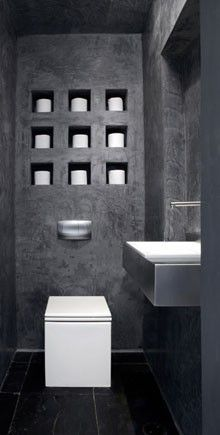 neat idea for toilet paper storage -- dorit sela modern powder room. I would display art. My kid would put his toys in there. Modern Toilet, Modern Bathroom, Office Bathroom, Small Toilet, Small Bathrooms, Bathroom Layout, Bathroom Storage, Bathroom Ideas, Bathroom Inspo