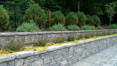 Libertystone's & StoneLedge Ashlar was used for this double tiered poolside retaining wall in Northern NJ. The color selected was Willow. Building A Retaining Wall, Garden Retaining Wall, Stone Retaining Wall, Landscaping Retaining Walls, Side Garden, Plant Wall, Wall Ideas, Outdoor Living, Backyard